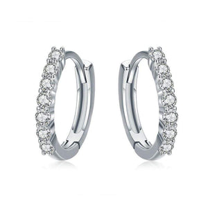 Dazzling Round Hoop Earrings - The Silver Goose