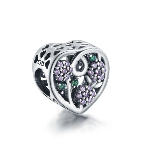 Flower Heart Charm - The Silver Goose