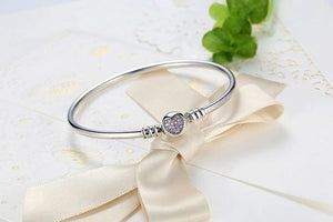 Pink Heart Bangle Bracelet - The Silver Goose
