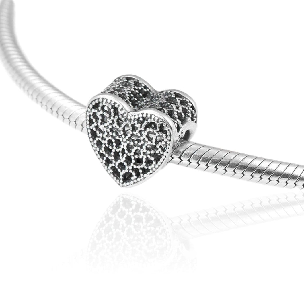 Lace Heart Charm - The Silver Goose