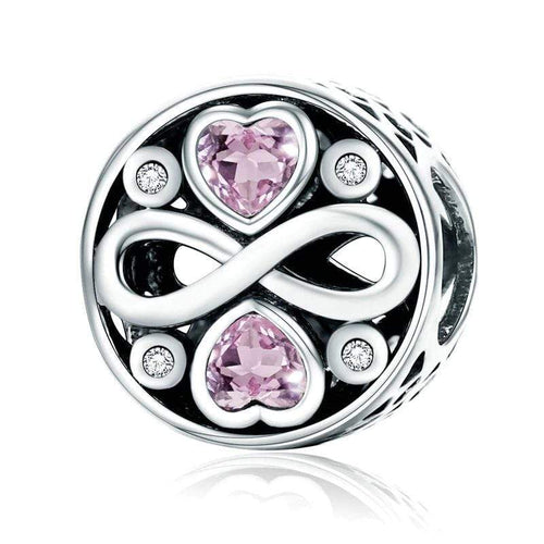 Pink Heart Infinity Charm - The Silver Goose