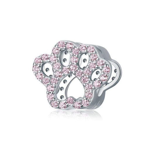Pink Paw Print Charm - The Silver Goose