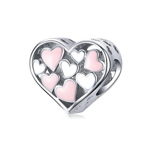 Pink & White Hearts Charm - The Silver Goose
