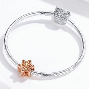 Snowflake Rose Gold Charm - The Silver Goose