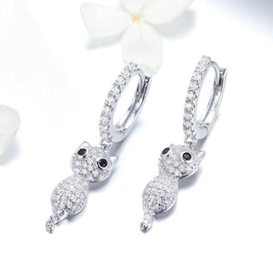 Sparkling Cat Dangle Earrings - The Silver Goose