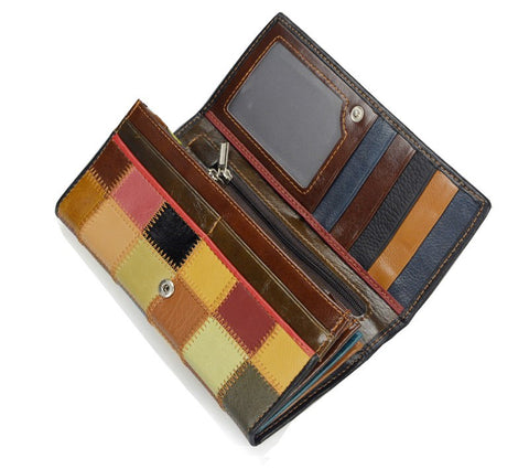 Genuine Leather Plaid Designer Wallet