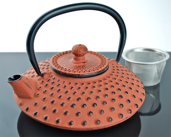 Cast Iron Tea Pot - Ochre Hobnail