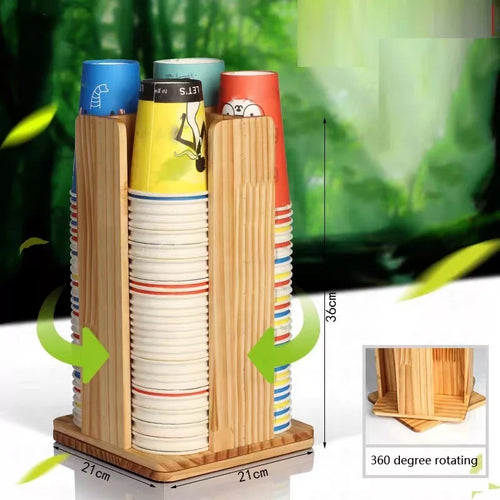 Cups holder 360 degree wooden
