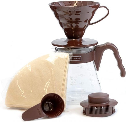 Hario V60 Pour Over Starter Set With Dripper, Glass Server Scoop And Filters, Size 02, Brown