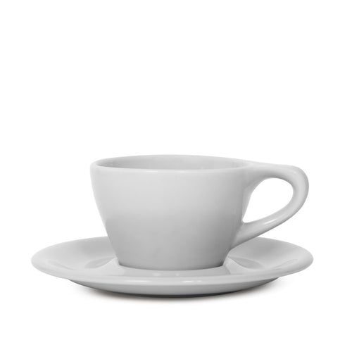 Lino 180ml Cappuccino Cup/Saucer, Light Gray