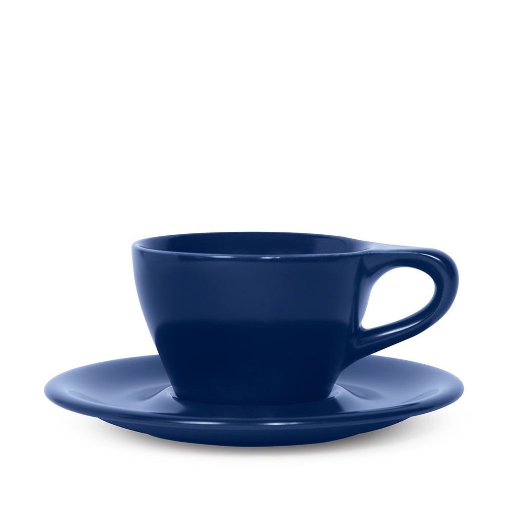 LINO 180 ml Cappuccino 6 oz cup and saucer Dark Blue