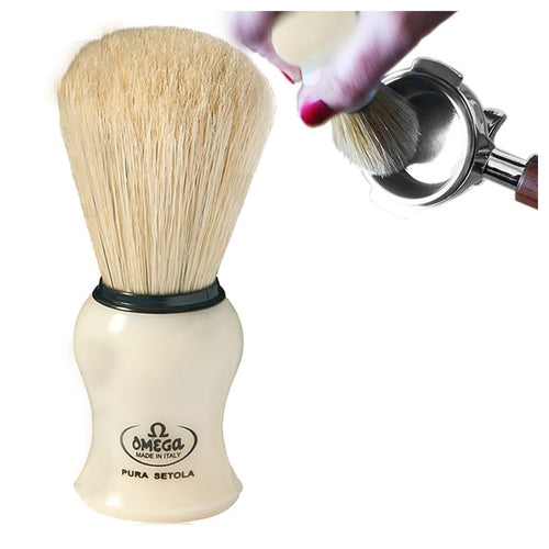 BRUSH IN PURE BRISTLES WITH ABS BEIGE PLASTIC HANDLE