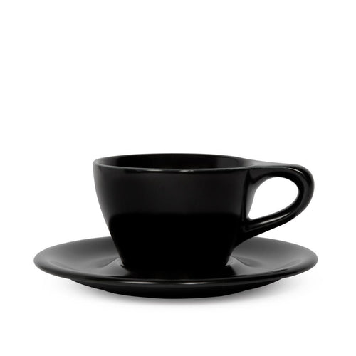LINO 180 ml Cappuccino 6 oz cup and saucer Black