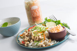 Thai style noodles with cucumber, carrot, spring onion, lime, coriander and toasted cashews with Bodkin's White Cabbage and Chilli- hot or cold