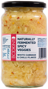 Naturally Fermented Spicy Veggies: White Cabbage and chilli flakes