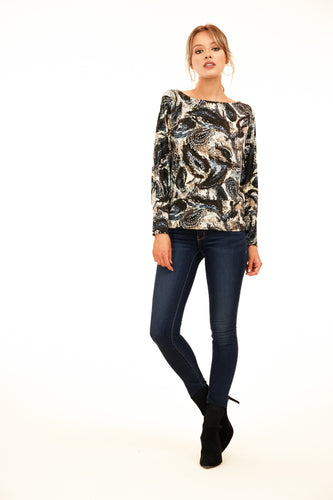 BLACK MULTI FEATHER BANDED LONG SLEEVE TOP