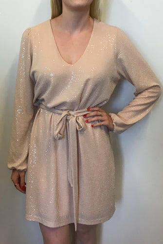 BLUSH SEQUIN LONG SLEEVE DRESS