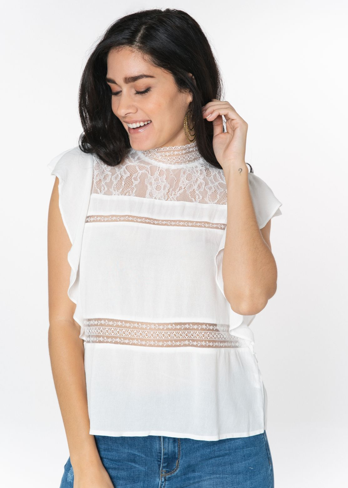 CAP SLEEVE LACE TRIM TOP IVORY