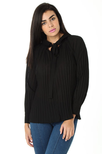 BLACK LONG SLEEVE TOP WITH NECK TIE