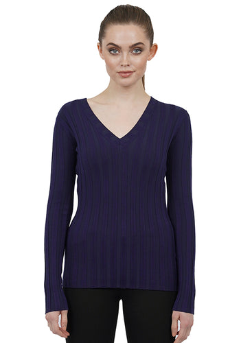 WIDE RIBBED LONG SLEEVE TOP