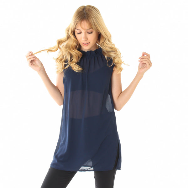 NAVY BUTTON DOWN BACK TUNIC