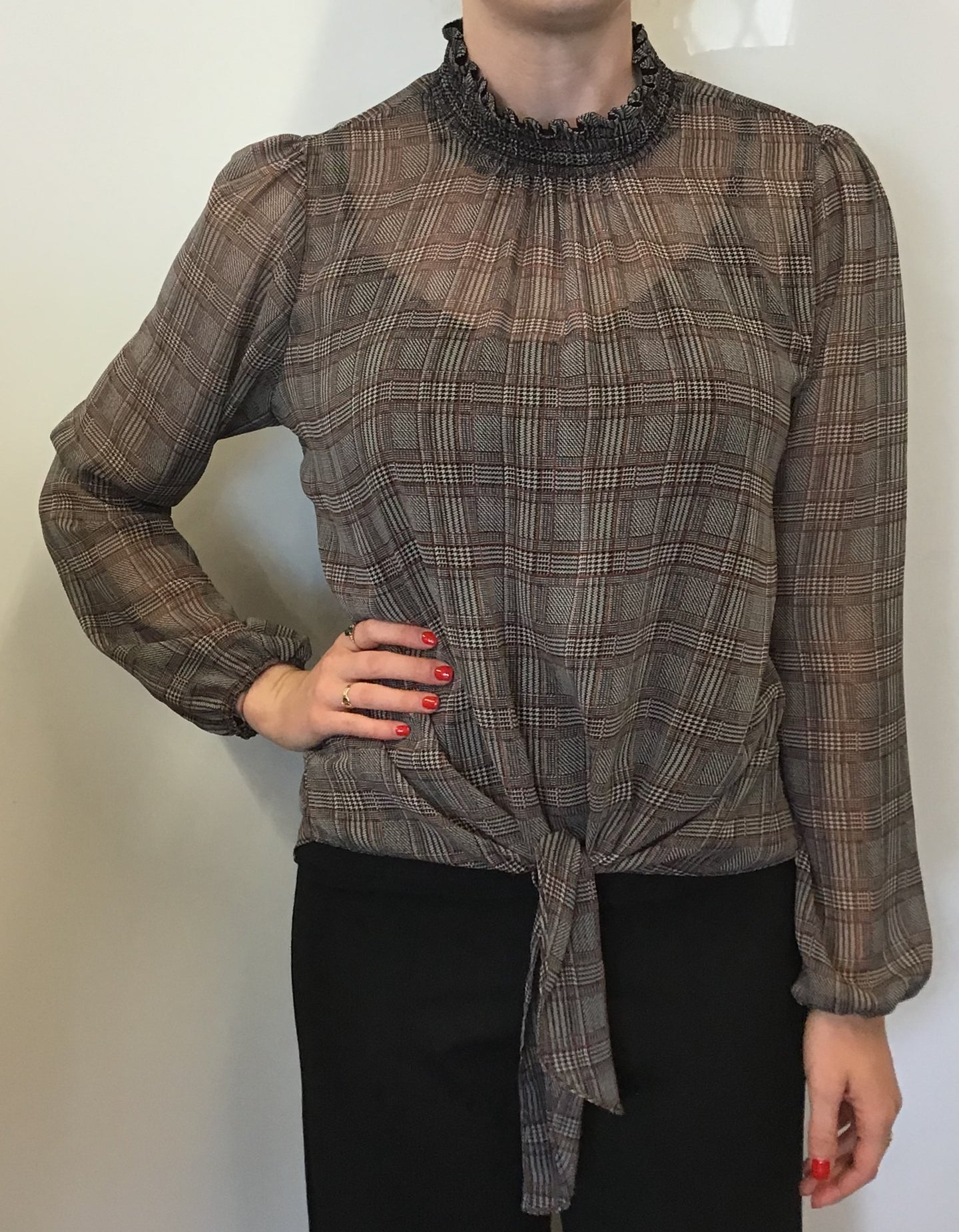 Plaid Print Smock Neck Tie Front Blouse