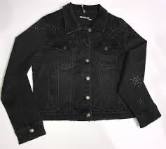 DENIM JACKET WITH STARBURST STUDS BLACK