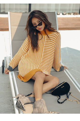 HIGH NECK STRIPED SWEATER