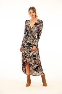 Feather Print Long Sleeve Wrap Dress