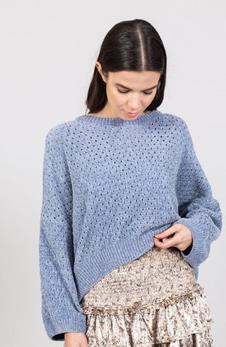 CHENILLE PULLOVER LIGHT BLUE