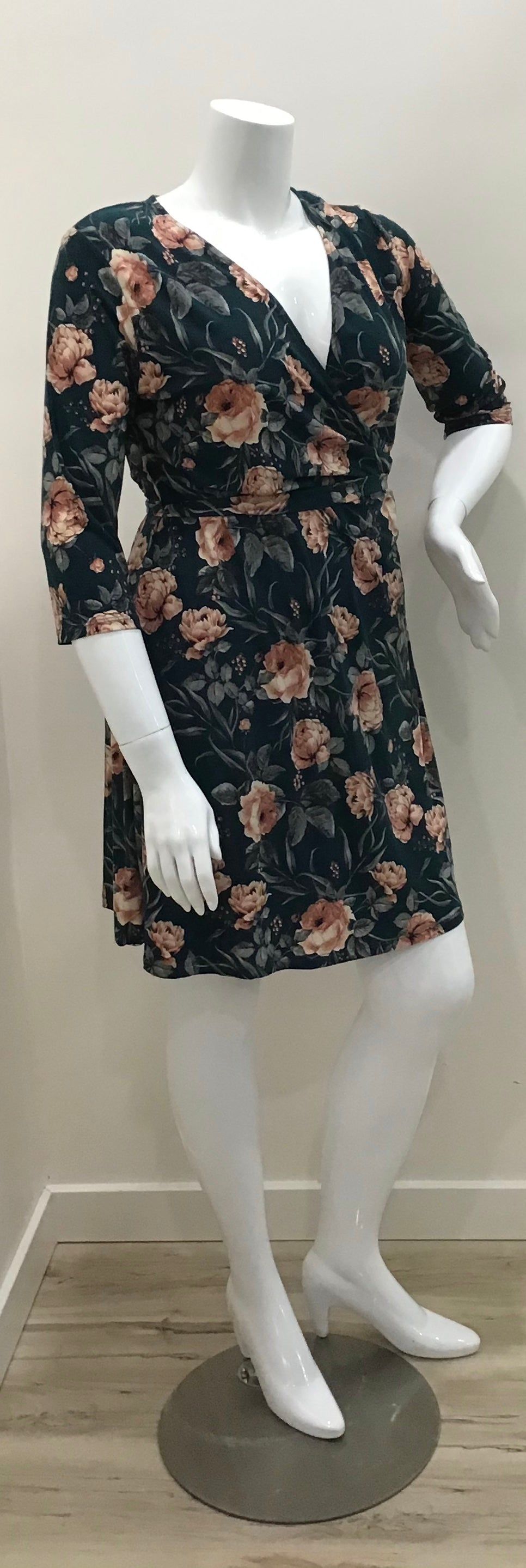 Floral 3/4 Sleeve Wrap Dress