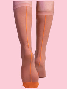 SHEER ORANGE HIGH SOCKS