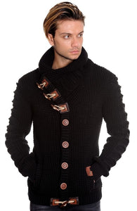 MENS BLACK SWEATER COAT BUTTON DOWN