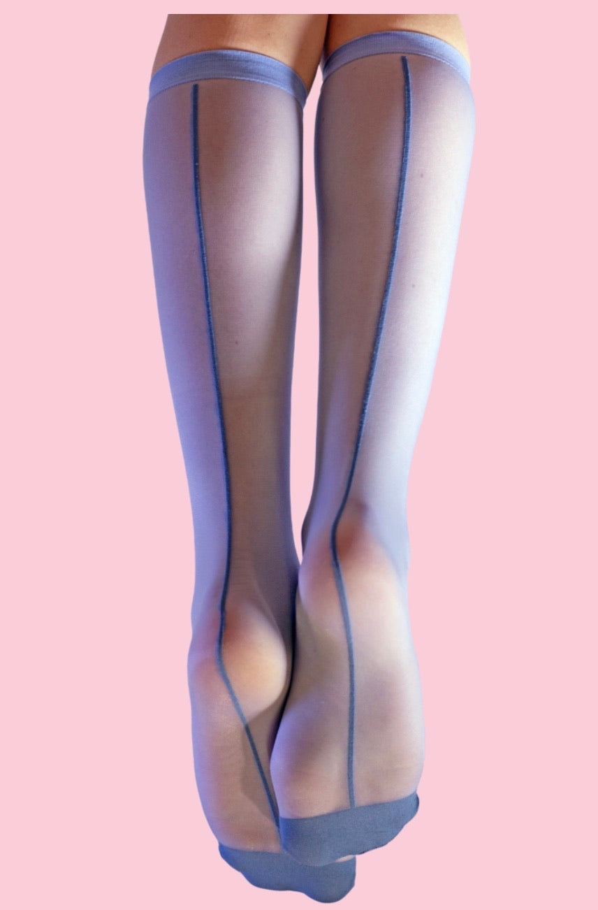 SHEER BLUE HIGH SOCKS