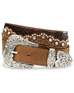 Kaitlyn Crystal Leather Belt