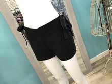 BLACK SIDE TIE SHORTS tly