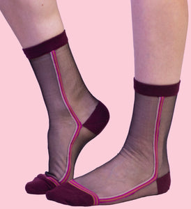 SHEER WITH PURPLE STRIPE SOCKS