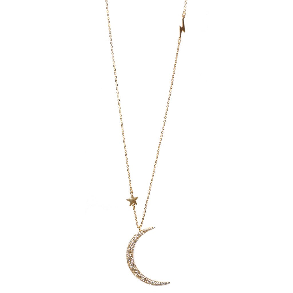 MOON, STAR, & LIGHTNING BOLT NECKLACE