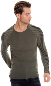 OLIVE GREEN MENS LONG SLEEVE KNIT TOP