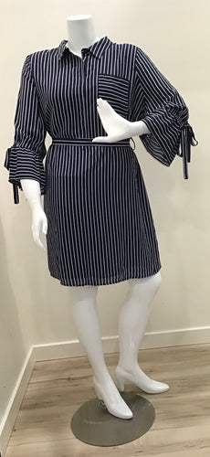 Navy Blue White Striped 3/4 Sleeve Dress
