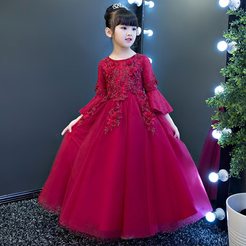 Glitz Autumn Long Formal Flower Girl Dresses for Weddings Kids Toddler Burgundy Birthday Party Dress Princess Christmas Gowns