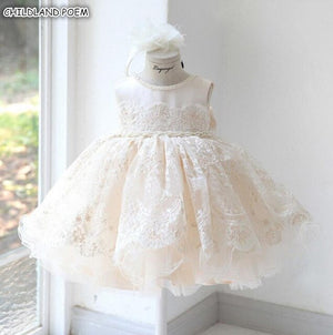 Baby Girl Dresses For Party And Wedding Princess Lace Girls Tulle Dress Baptism Christening 1st Birthday Princess Ball Gown