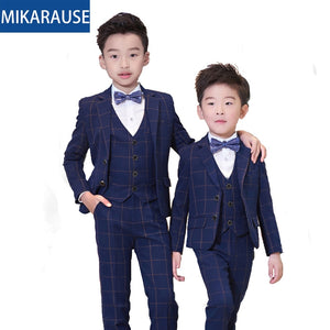 Kids Slim Fit Wool Plaid Boys Wedding Suits Boy Blazers Formal suit sets Notched collar Child Tuxedos teenage party dress blazer