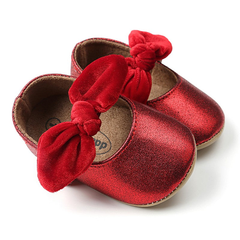 2018 High Quality Newborn Toddler The First Walker Bow PU Princess Non-slip Soft Bottom Baby Toddler Shoes Kid Clothes