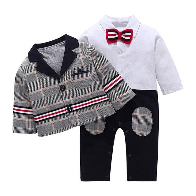 Infant Baby Clothes Set Children Boys Gentleman Romper With Bow Tie Plaid Suit Coat Sets Kids Clothing