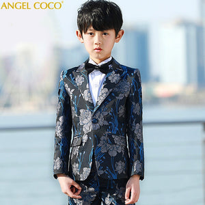 2019 Spring Handsome Toddler Boys Dark Blue 5pcsset Wedding Flower Boys Show/Performance Suit Sets Enfant Garcon Mariage Meninos