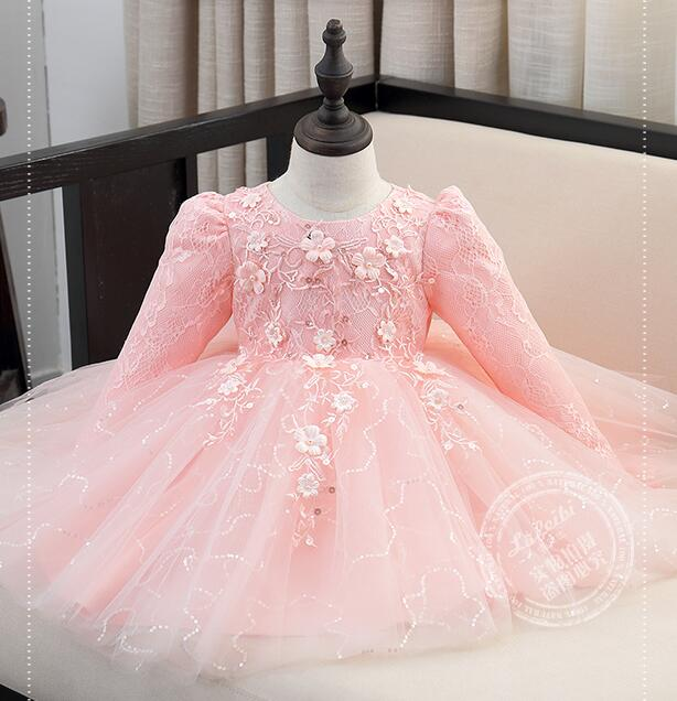 Top Quality Brand Girl Wedding Dress Sequin Princess Party Dress Kids Girl Tutu Dress Infants Long-sleeve Bridesmaid Clothes