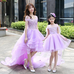 Mother Daughter Dresses Mommy and Me Wedding Dress Clothes 2018 Summer Infant Baby Girls Tutu Ball Gown Prom Family Clothing