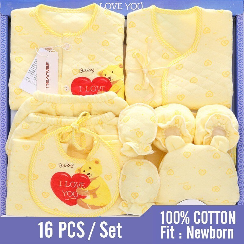 16  Pieces 0-3 M Neonatal 100% Cotton Newborn Baby Clothing Set Autumn & Winter Clothes Suits Infant Warm Full Month For