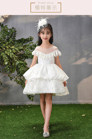 High Quality Kids Girl Flower Dress Appliques White Ball Gown Knee-Length Princess Dress for Wedding Party Communion Gown A54